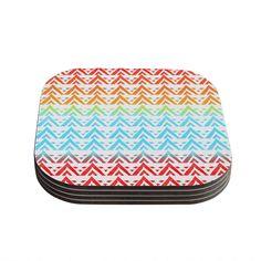 Kess InHouse Frederic Levy-Hadida 'Antilops Pattern' Multicolor Chevron Coasters
