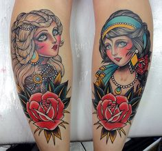 I NEED to know who did these tattoos! They're amazing!! #neotraditional