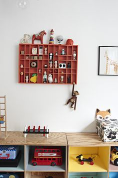 Kids playroom with cool shelves.