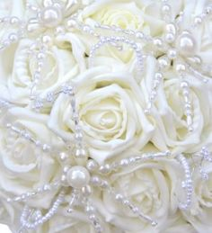 Winter Wedding Flower Bouquet | Brides Bead & Pearl Snowflake Winter Wedding Bouquet in Ivory Roses