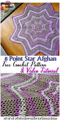 8 point Star Afghan – Free Crochet Pattern - #crochetpatterns #crochet #crochetblanket #crochetbaby #crochetstarafghan #8pointstarafghan #crochetstarblanket #meladorascreations #crochetbabyblanket