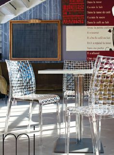 Great weave in these Kartell chairs.