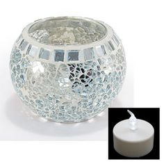 Mini Mosaic Globe With LED Tea Light (Crystal) - Elegant mosaic globe offers soothing mood-lighting both indoors and out! (PN MF2095) $9.98 CAD