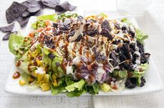 Skinny BBQ chicken salad - I leave out the corn and tortilla chips and add a few more black beans