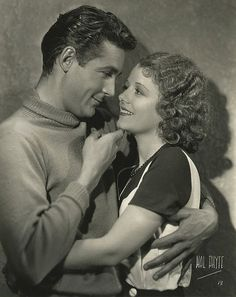 Silent film stars Janet Gaynor and Charles Farrell