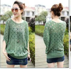 Stella free shipping 2013 summer plus size loose women's pullover batwing shirt cutout sweater $27.89