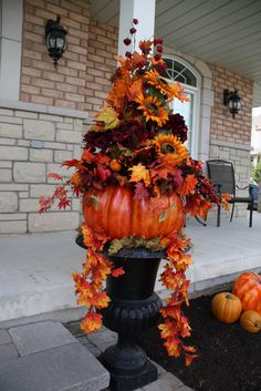 add fake cheap fall leaf garland from the Dollar Tree along with cheap plastic pumpkins.oh yes, I will make this! Fall Home Decor, Autumn Home, Thanksgiving Decorations, Halloween Decorations, Fall Decorations, Thanksgiving Ideas, Outdoor Thanksgiving, Christmas Decor, Casa Magnolia