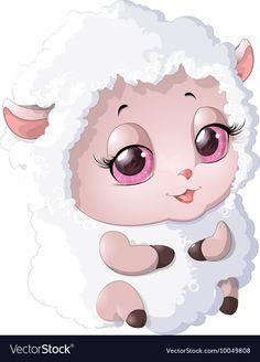 Nyashnye sheep on a white background Cartoon Lamb, Cute Cartoon, Baby Animals, Cute Animals, Cute Animal Clipart, Birthday Post Instagram, Emoji, Cat Tat, Cute Frames