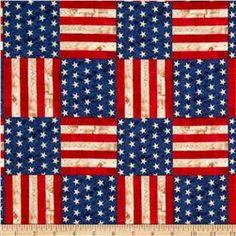 America The Beautiful Flag Blocks Americana