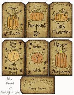 Printable  14 Prim Punkins Hang Tags 'n' Collage by Penniwigs, $2.50