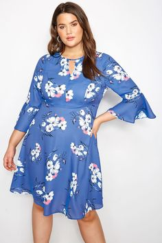 1506437b998 Plus Size YOURS LONDON Blue Floral Dress With Fluted Sleeves