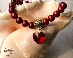 Czerwona Bransoletka Perłowa z Sercem Swarovski #Swarovski #jewelry #bizuteria