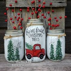 Hand-Painted Fall and Winter Mason Jar Thankful Let it Snow | Etsy