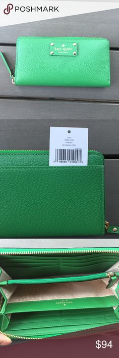 Kate Spade Green Neda Wallet New with tags. Color is called Sprout Green. No trades♠️price firm♠️ kate spade Bags Wallets