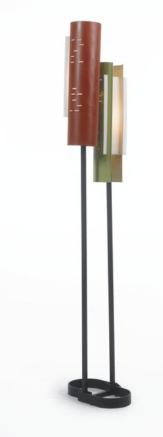 Pierre Guariche; Enameled Metal and Plastic Floor lamp for Disderot, 1950s.