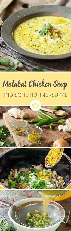 Curry, Kokos, Limette, Koriander - all diese Aromen verbinden sich mit saftigem Hähnchenfleisch zu einer würzigen Suppe, der indischen Malabar Hühnersuppe. Easy Soup Recipes, Healthy Chicken Recipes, Healthy Snacks, Vegetarian Recipes, Quick And Easy Soup, Spicy Soup, Indian Chicken, Indian Food Recipes, Ethnic Recipes