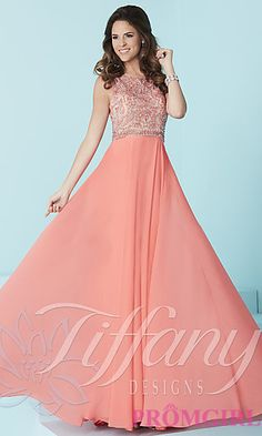 ff646346eef Tiffany Long Prom Dress with Open Back and Beaded Bodice