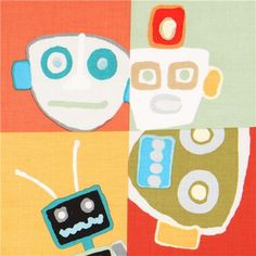 colorful patchwork square robot fabric Mr. Roboto