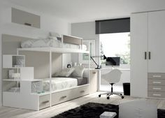 Great furniture ideas for small spaces Bedroom Bed Design, Kids Bedroom, Bedroom Decor, Loft Spaces, Small Spaces, Bed With Wardrobe, Modern Bunk Beds, Shared Rooms, Kids Room Design