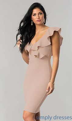 V-Neck Short Wedding-Guest Party Dress with Ruffle Casual Cocktail Dress, Cocktail Dresses With Sleeves, V Neck Cocktail Dress, Short Wedding Guest Dresses, V Neck Wedding Dress, Short Dresses, Bodycon Dress Formal, Party Dresses For Women, Fashion Dresses
