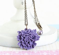 Purple Flower Necklace  Brass Chain  Flower by JacarandaDesigns
