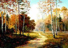 (North Korea) Birch in Autumn by Kim Cheol-jin (1954-  )