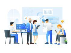 Team Illustration by Fintory Pop Design, Design Lab, Sketch Design, Flat Design Illustration, Business Illustration, Flat Design Inspiration, Web Design Mobile, Template Web, App Background