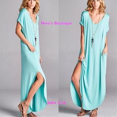 Chic Maxi Dresses Loose fit maxi dresses in mint - side pockets and slits. Price is firm. S(2/4) M(6/8) L(10/12) Boutique Dresses Maxi