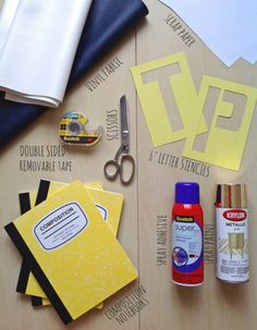 MATERIALS USED Diy Spray Paint, Diy Notebook, Letter Stencils, Adhesive, Scrap, How To Remove, Lettering, Paper, Fabric