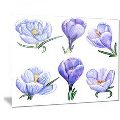 Designart 'Hand-drawn Crocuses' Floral Art Painting