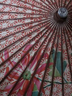 1940s Floral Paper Umbrella - Japanese