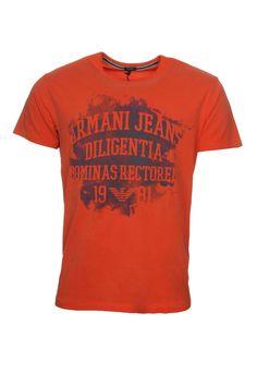 AJ Armani Jeans Mens Crew Neck T Shirt Large Print Regular Fit Red Top XXL 3XL