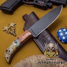 ALONZO KNIVES USA CUSTOM HANDMADE TACTICAL HUNTING 1095 KNIFE CORELON 2680 #AlonzoKnives