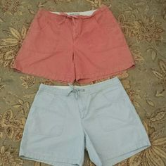 Bundle of Old Navy Shorts These shorts are in great condition! A pretty salmon colored pink and a light blue, these shorts have a hook and drawstring closure at the waist line. 4 inch inseam. 100% cotton. Old Navy Shorts