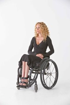 Women's Wrap Dress in Black - Clothing designed with wheelchair users in mind.