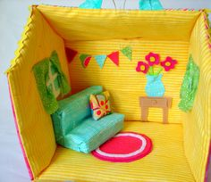 fabric dollhouse - A girl and a glue gun