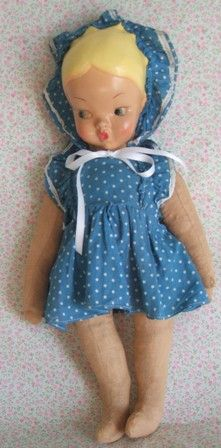 Antigua Muñeca española de ropa con la cara de celuloide de los años 50. Antique Spanish doll clothes with celluloid face 50s.