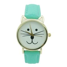 Ladies Cat Leather Watch 35mm Mint (£16) ❤ liked on Polyvore featuring jewelry, watches, accessories, bracelets, cat, cat jewelry, leather jewelry, mint watches, buckle watches y leather watches