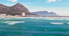 South African artist Andrew Cooper paintings are renown for their vivid colour - South African landscape paintings, Western Cape seascape paintings Andrew Cooper, South African Artists, Seascape Paintings, Surfers, Paintings For Sale, San Francisco Skyline, Corner, Fine Art, Travel