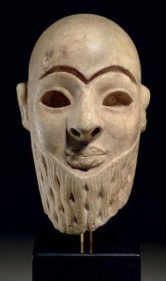 Mesopotamian Gypsum Head Of A Male Worshipper, Syria, Early Dynastic III, 2550-2250 BC