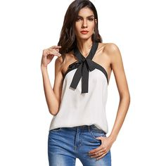 Bow Tie Halter Top Women White Contrast Sexy Backless Casual Slim Cami Tops New Fashion Elegant Summer Camisole Oh just take a look at this! Visit us