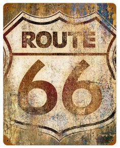 Route 66 Grunge Metal Sign 12 x 15 Inches, $24.98