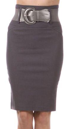 0989aa5cf2b5 Knee Length High Waist Stretch Pencil Skirt with Wide Belt