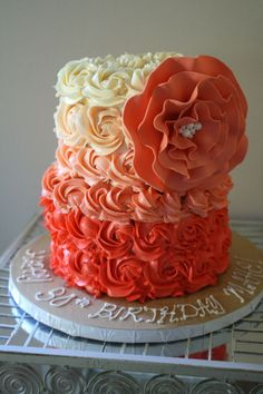 Coral Ombre Rose Cake