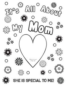 This book is made all in black and white so the students can color it for their mother. It has several questions on each page for the kids to answ. Mothers Day Book, Mothers Day Cards, Kids Activities At Home, Holiday Activities, Mothers Day Coloring Pages, Kindergarten Language Arts, Holiday Crafts For Kids, Dad Day, Fathers Day Crafts