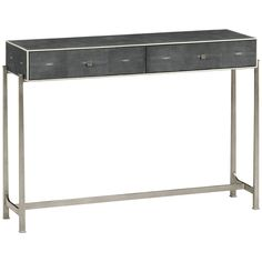 Jonathan Charles Faux Anthracite Shagreen Console With Bronze Base