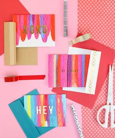 html - paint scrape notecards diy art project idea per. Diy And Crafts Sewing, Crafts To Sell, Art Journal Pages, Diy Note Cards, Diy Cards, Deco Restaurant, Art Nouveau, Diy Art Projects, How To Make Paint