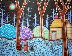 "14x11"", Moonlit Cabin, original acrylic on 140lb watercolor paper, copyrighted, www.karlagerard.com"