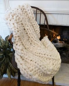 Super Chunky Blanket, 32x48, Pure Merino Wool, knit blanket, throw, hand knit, wool blanket, fall trending