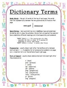 Dictionary Terms Freebie w/ Activities